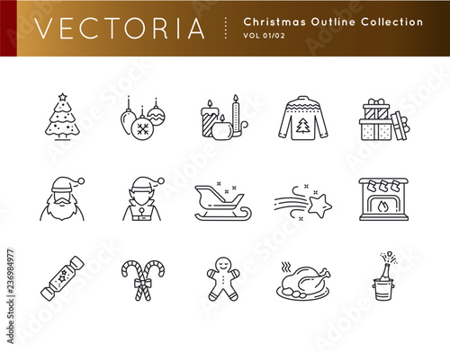Fotografie, Obraz  Christmas Thanksgiving Outline Icons Collection vol 01