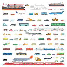 A Large Set Of Vector Illustrations Of Various Vehicles. Airplanes, Ships, Trains, Cars, Tractors, Special Equipment, Buses. Different Types And Modes Of Transport.