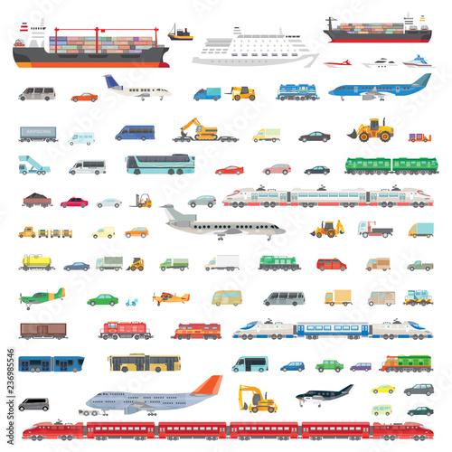 Obraz na plátně A large set of vector illustrations of various vehicles
