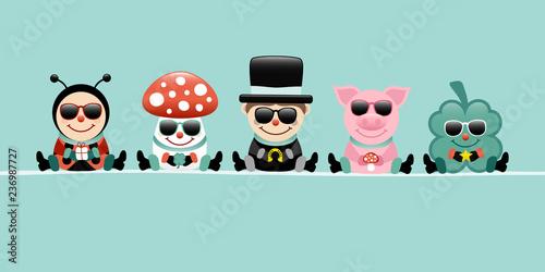 Ladybeetle, Fly Agaric, Chimney Sweeper, Pig & Cloverleaf Sunglasses Retro