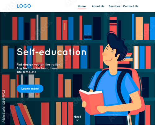 Site Template Self Education Reading Library Web Page Design Website And Mobile Development Flat Vector Ilration In Cartoon Style