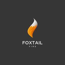Fox Tail Fire Logo Design Vector Illustration