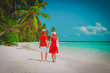happy loving couple walk on beach, romantic vacation