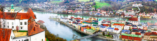 Landmarks of Germany -Passau city. city view with Veste Oberhaus castle.Bavaria