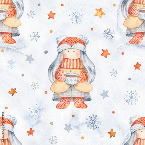 Christmas Seamless patternd with Cute cartoon characters - little girl.