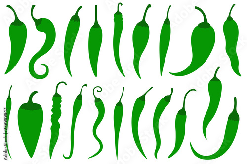Set of different green hot chili peppers isolated on white Canvas Print