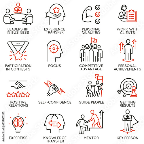 Photo Vector set of linear icons related to skills, empowerment leadership development and qualities of a leader