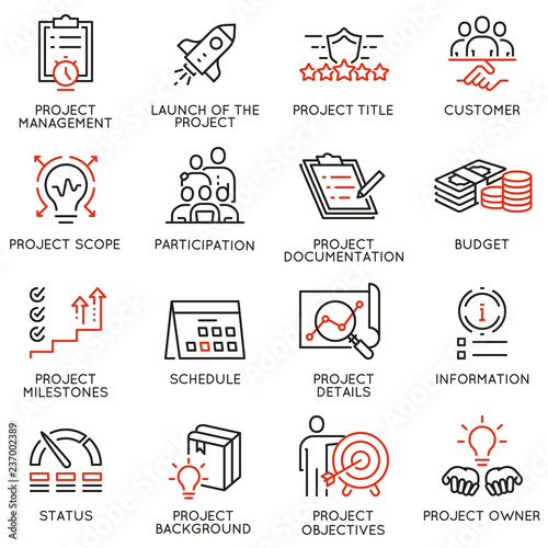 Fotografía  Vector set of linear icons related to project management