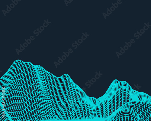 Staande foto Fractal waves Abstract vector mesh landscape. Cyberspace grid. Data visualization background.