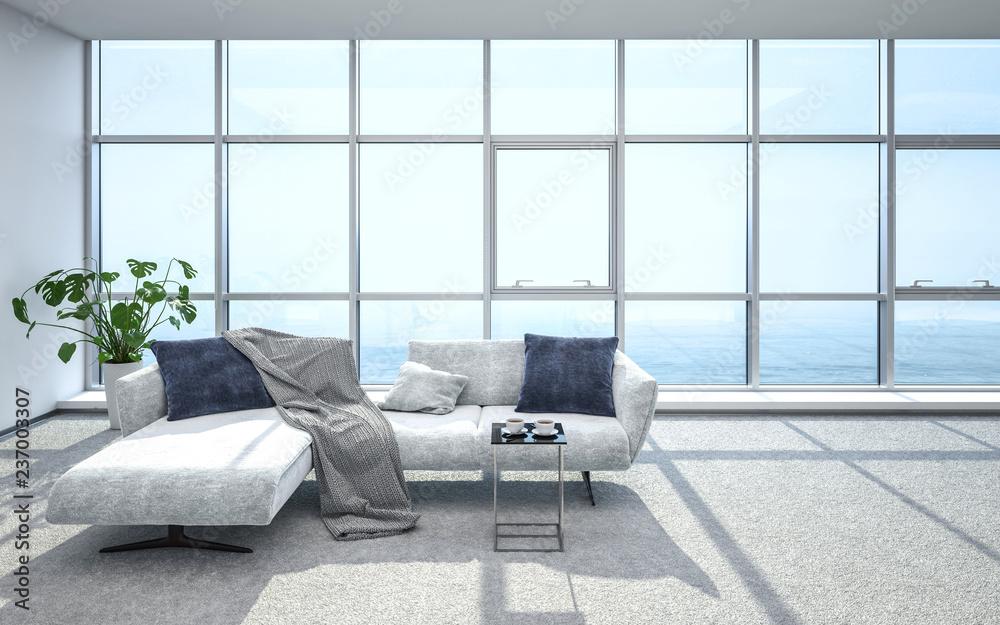 Fototapeta Luxurious, bright penthouse living room and sofa