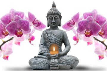 Fototapeta Do Spa Buddhastatue mit Kerze und Orchideen