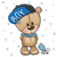 Cute Cartoon Teddy Bear In Cap On A White Background