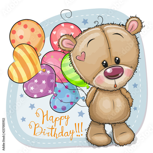 Greeting card Teddy Bear with balloons
