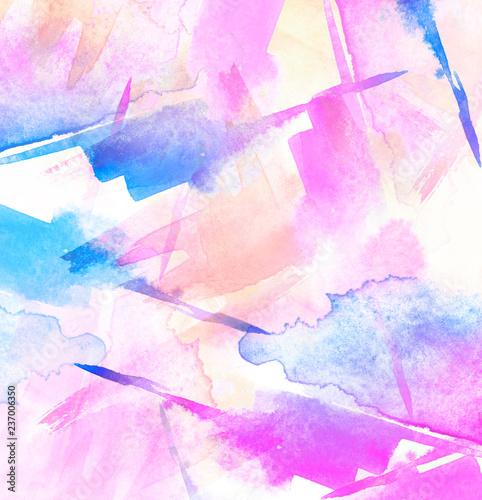Watercolor blue, pink, oran...