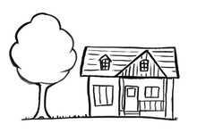 Black Brush And Ink Artistic Rough Hand Drawing Of Small Stand-alone Single-family House With Tree.