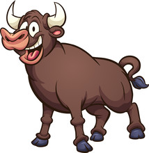Happy Cartoon Bull. Vector Clip Art Illustration With Simple Gradients. All In A Single Layer.