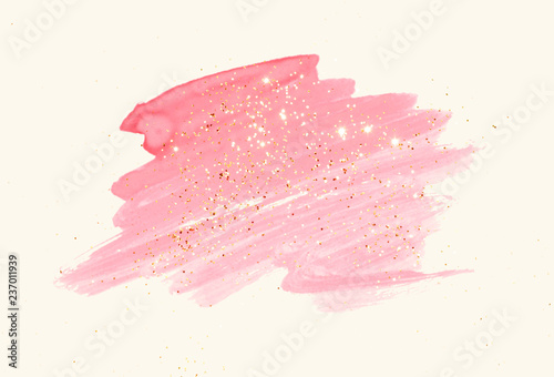 Photo  Abstract pink watercolor splash and golden glitter in vintage nostalgic colors