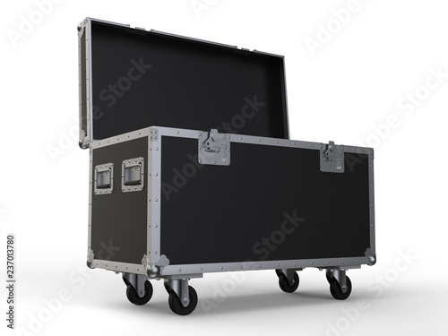 Fotografering Black opened simple flight case on white background. 3D render