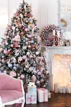 Christmas Interior In Pink And...