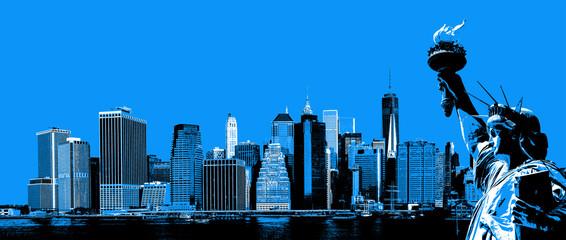 FototapetaManhattan Skyline and The Statue of Liberty