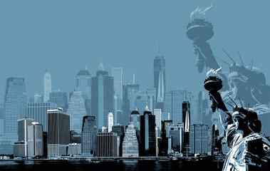 Fototapeta Nowy York Manhattan Skyline and The Statue of Liberty