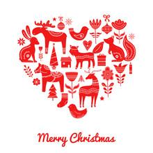 Christmas Scandinavian Elements In Heart