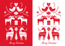 Set Of Christmas Hand Drawn Greeting Cards In Scandinavian Styl