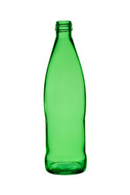 Empty Bottle From Green Glass For Drinks On A White Background