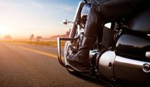 Biker Riding On Chopper, View ...