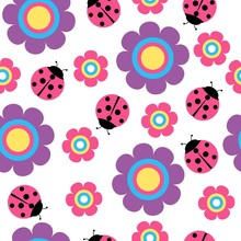 Cute Flower And Ladybug Seamless Vector Pattern