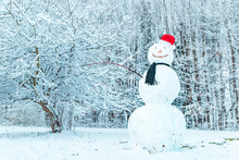 Snowman In Center Of Frozen City Park