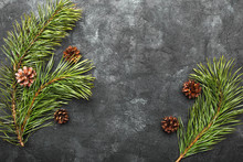 Pine Twigs And Pine Cones On A...