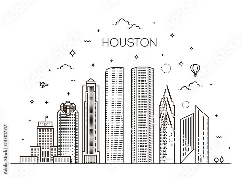 Fényképezés  Houston city skyline, vector illustration in linear style