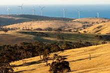 Rural Landscape With Wind Farms Near Great Ocean Road, Australia