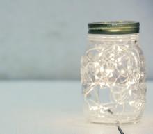 Christmas Fairy Lights In A Mason Jar