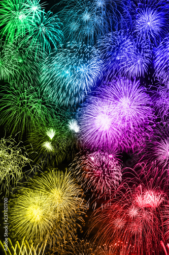 Fotografia  Silvester Feuerwerk Sylvester Neujahr Hintergrund Hochformat bunt Neues Jahr Neu