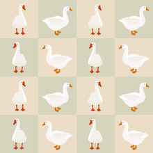 Seamless White Goose Pattern On Squares, Vector Eps 10