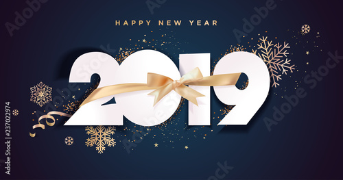 Fototapeta Business Happy New Year 2019 Greeting Card Vector Illustration Concept For Background Greeting Card Website And Mobile Website Banner