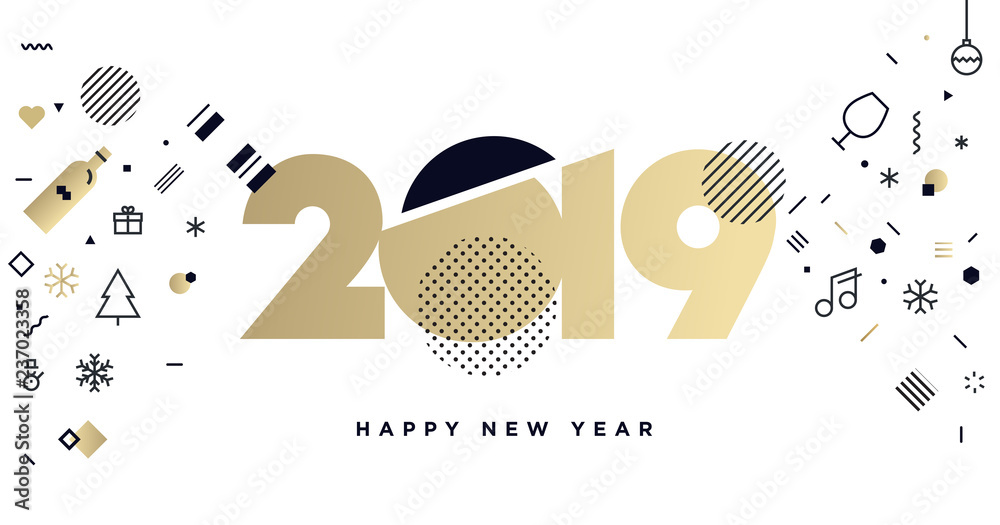 Fototapeta Business Happy New Year 2019 greeting card. Vector illustration concept for background, greeting card, website and mobile website banner, party invitation card, social media banner, marketing material