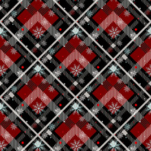 Tartan Seamless Pattern Background. Red, Black, Blue, Beige And White Plaid With Snowflake, Tartan Flannel Shirt Patterns. Trendy Tiles Vector Illustration For Wallpapers. Eps10