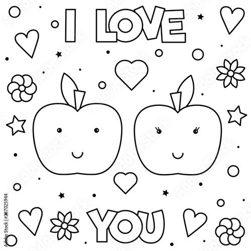 Naklejka premium Kocham Cię. Kolorowanka. Ilustracja wektorowa czarno-biały.