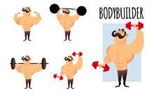 Strong Muscular Athletic Bodybuilders Set. Cartoon Characters