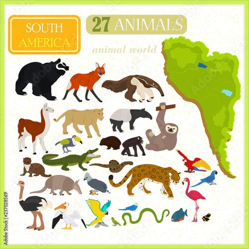 Obraz na plátně Set of animals of South America. Map of South America.