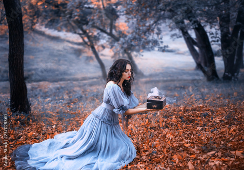 attractive brunette girl sits in a dark forest on fallen autumn orazhevyh leaves Fototapet