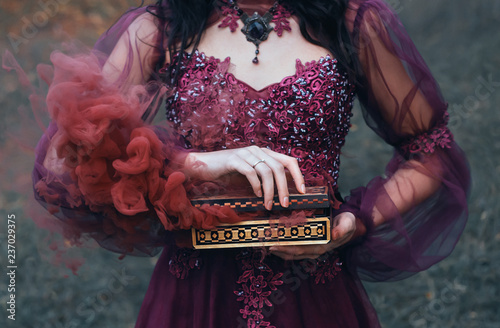 фотография legend of Pandora's box, girl with black hair, dressed in a purple luxurious gorgeous dress, an antique casket opened, produces red smoke outside, along with diseases and curses