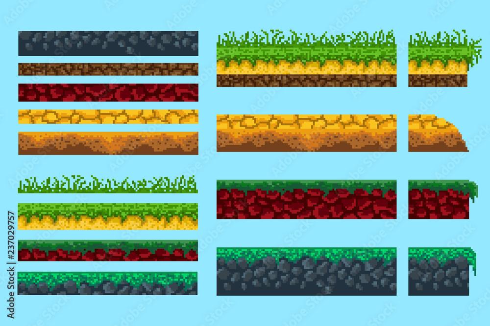 Fototapeta A set of basics for creating pixel seamless landscape