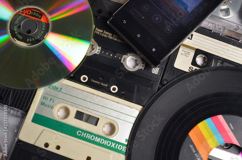 Different analogic and digital audio supports. Wallpaper Mural