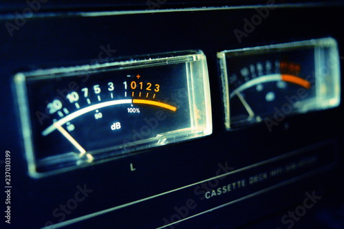 VU meters analogic display. Canvas Print