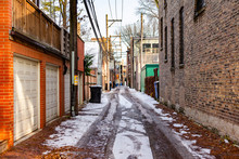 Alley Scene In Chicago With Sn...