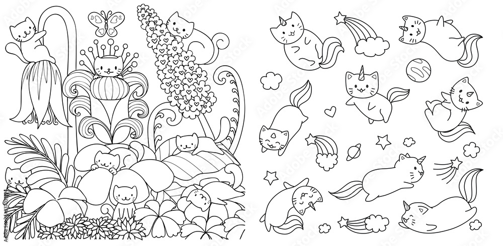 Fototapeta Hand drawn happy cats in floral forest in spring season and cats with unicorn horn flyingi in space, for design element and coloring book page. Vector illustration